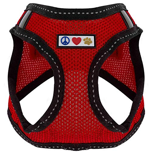 PAWTITAS Pet Reflektierendes Hundegeschirr Geschirr zum Hineintreten oder Umlegen, Komfortsteuerung, Trainieren Sie den Spaziergang Ihres Welpen/Hundes - Extra Klein Hundegeschirr Rot