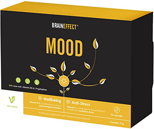 BRAINEFFECT Mood - Natural Mood Enhancer - L-Tryptophan, Vitamin D, B6, B12 & More - 90 Caps - Serotonin Builders - Aid for Anxiety & Stress - Vegan, No Additives, Lab-Tested, German Quality