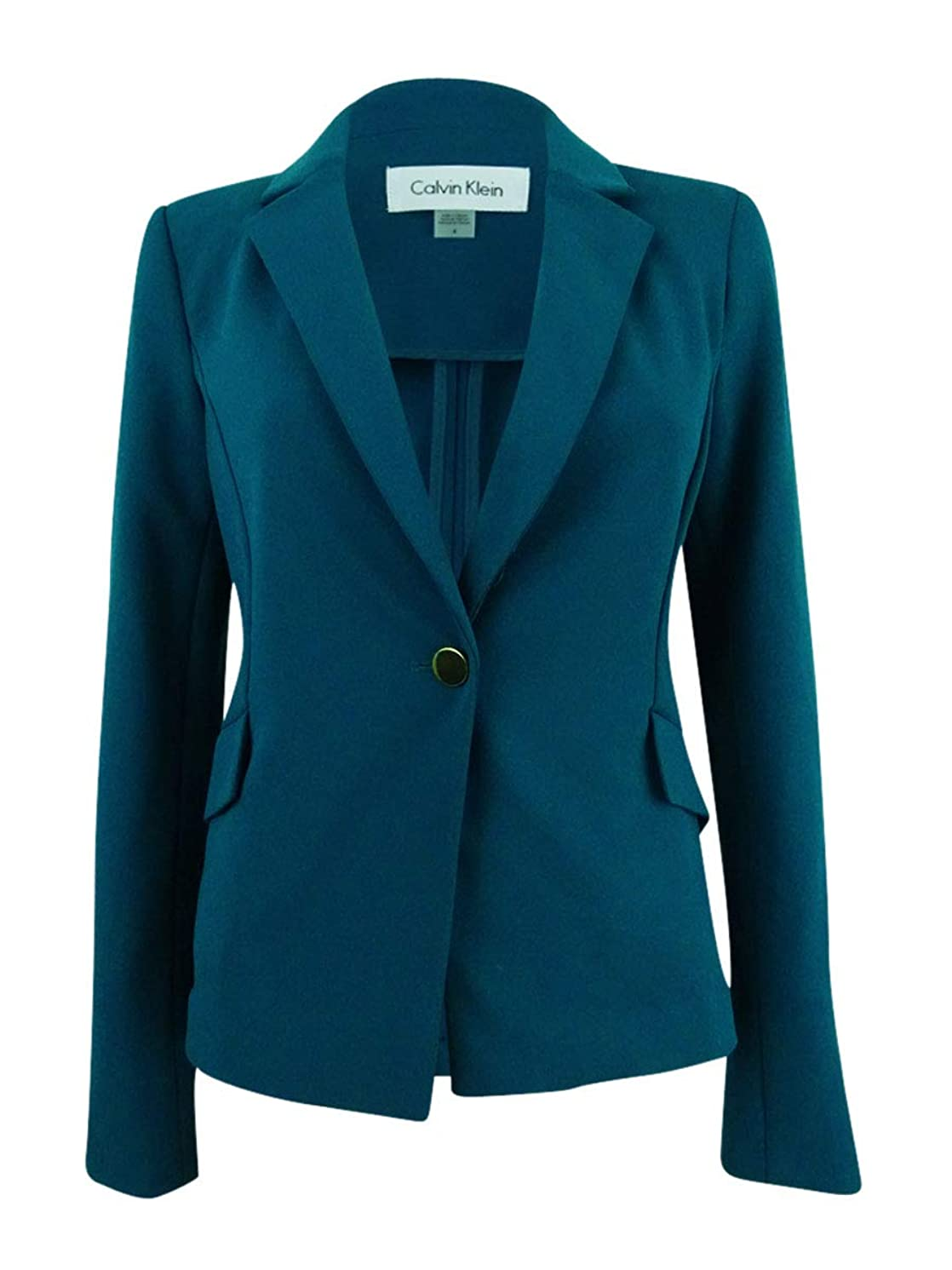 Calvin Klein Womens Plus Crepe Office Wear One-Button Blazer