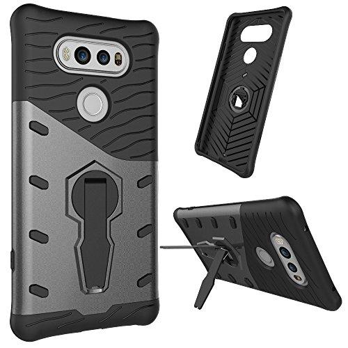 Tasche für LG V20 Hülle, Ycloud flexible TPU innere Schicht + PC harte Schale doppelte schützende Schale 360-Grad-rotierenden Handykasten schützenden Handykasten schwarz
