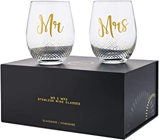 Verre Espirit Mr And Mrs Gifts Set Of 2 Crystal Stemless Wine Glasses With Beautiful Gift Box - Perfect Engagement Gifts, Wedding Gifts For The Couple, Anniversary Gifts For Couple, Or Couples Gifts
