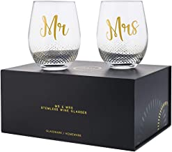 Verre Esprit Mr And Mrs Gifts Set Of 2 Crystal Stemless Wine Glasses With Beautiful Gift Box - Perfect Engagement Gifts, W...