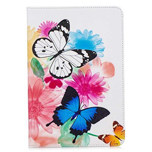 Hoesje voor Samsung Galaxy Tab A 10.1 Inch SM-T510/T515, Slim Fit Schokbestendig PU Lederen Smart Cover met Kickstand Card Slots Flip Notebook Soft Back Cover Witte Vlinder