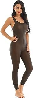 Women's Sexy Sheer Mesh Sleeveless Zipper Crotch Leotard Bodysuit Jumpsuit Lingerie