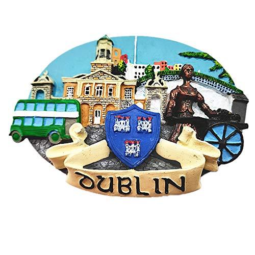 Jian Ai Imán 3D de Dublín Irlanda, recuerdo para nevera, decoración del hogar y la cocina, imán para nevera de Tenerife, Dublín, Irlanda, regalo de recuerdo de viaje