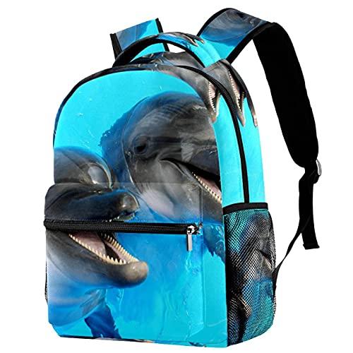 RuppertTextile Zaino piccolo per borsa da viaggio Duffel Fashion Sackpack per ragazze e ragazzi Dolphins Swim Piscina Primo piano con cerniera sulla spalla