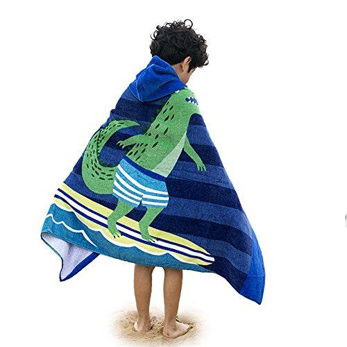 Amkun bambini spiaggia asciugamano da bagno con cappuccio set grande telo da bagno/poncho Swim Beach surfing effetto coccodrillo per bambina, 4 - 14 anni Surfing Crocodile
