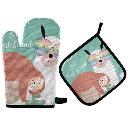 Oyihfvs Sloth Llama Different but Best Friend Oven Mitts Pot Holders Sets Heat Resistant Kitchen Oven Gloves Potholder Hot Pads for Cooking Baking Microwave Grill