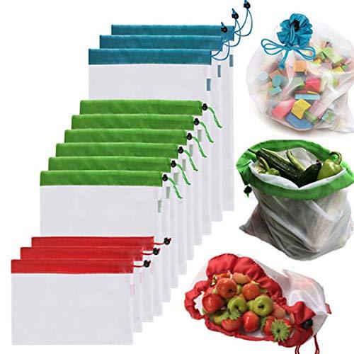 10 bolsas de almacenamiento reutilizables de malla para sándwich de frutas de doble costura, tamaño: 30 cm x 20 cm, color al azar.