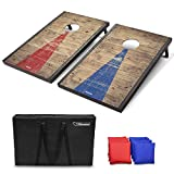 GoSports Classic Cornhole Set with Rustic Wood Finish | Includes 8 Bags, Carry Case and Rules