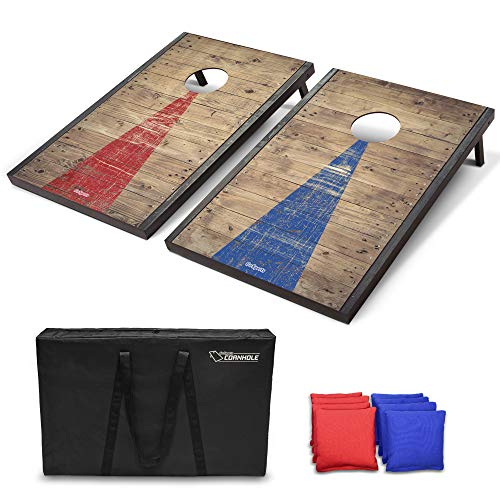 Best cornhole boards - GoSports Classic Cornhole Set with Rustic Wood Finish | Includes 8 Bags, Carry Case and Rules
