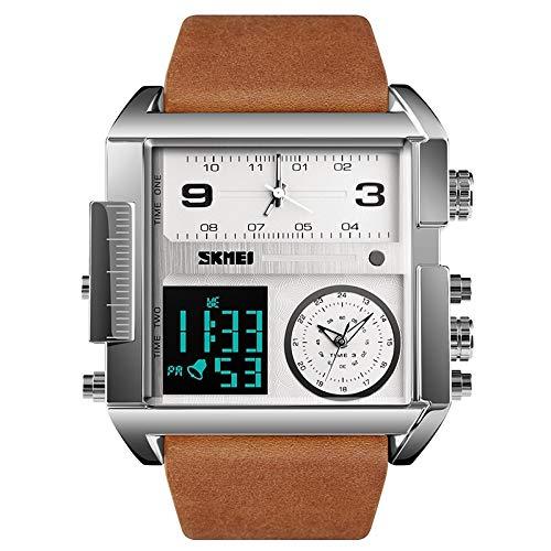 Sports Watches Herrenuhren 1391 Multifunktions-Herren-Business-Digitaluhr mit quadratischem Zifferblatt und Armbanduhr aus Leder Damenuhren (Farbe : Silber)