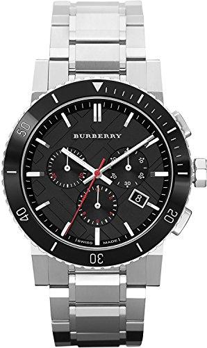 Vendita. Authentic Swiss Burberry top lusso orologio cronografo uomo The City in acciaio INOX nero ceramica lunetta data quadrante BU9380