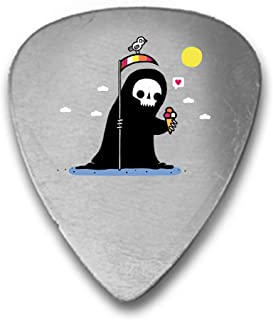 Randy Otter Happy Death Grim Reaper w/Ice Cream - 3D Color Printed Guitar and Bass Pick Gift Silver