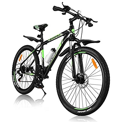 BESPORTBLE Mountain Bike with Aluminum Frame Suspension, 21 Speed Drivetrain, Shimano derailleur System, Mechanical Disc Brakes Mountain Bicycle for Men Women Adult (Black)