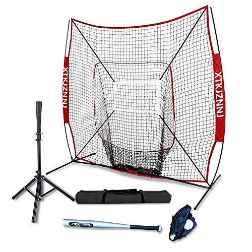 Baseball Softball Practice Net for Hitting and Pitching,7'x7' Baseball Training Equipment with Batting Tee,Strike Zone,Carry Bag,Build Confidence Family Activity