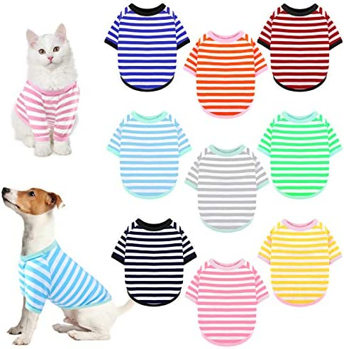 URATOT 9 Pieces Dog Striped T Shirt Colorful Dog Shirt Pet Breathable Striped Outfits Puppy product image