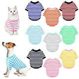URATOT 9 Pieces Dog Striped T-Shirt Colorful Dog Shirt Pet Breathable Striped Outfits Puppy T-Shirts Apparel for Dog Cat Boy and Girl Pet Puppy Sweatshirt for Small Medium Large Dog Cat (M)