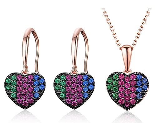 CHXISHOP 925 Conjunto de Joyas de Plata esterlina con Incrustaciones de Piedras Coloridas, Pendientes de Collar de Amor de Moda, Moda, Conjunto de Collar en Forma de corazón,