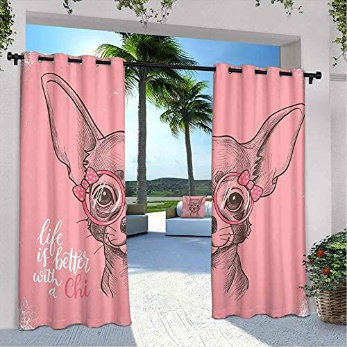 Cortinas impermeables para perros, chihuahua bosquejo ilustración con cita de moda para gafas de cachorro, para casa de campo, glorieta y terraza, 108 x 96 pulgadas, color rosa pálido verde militar