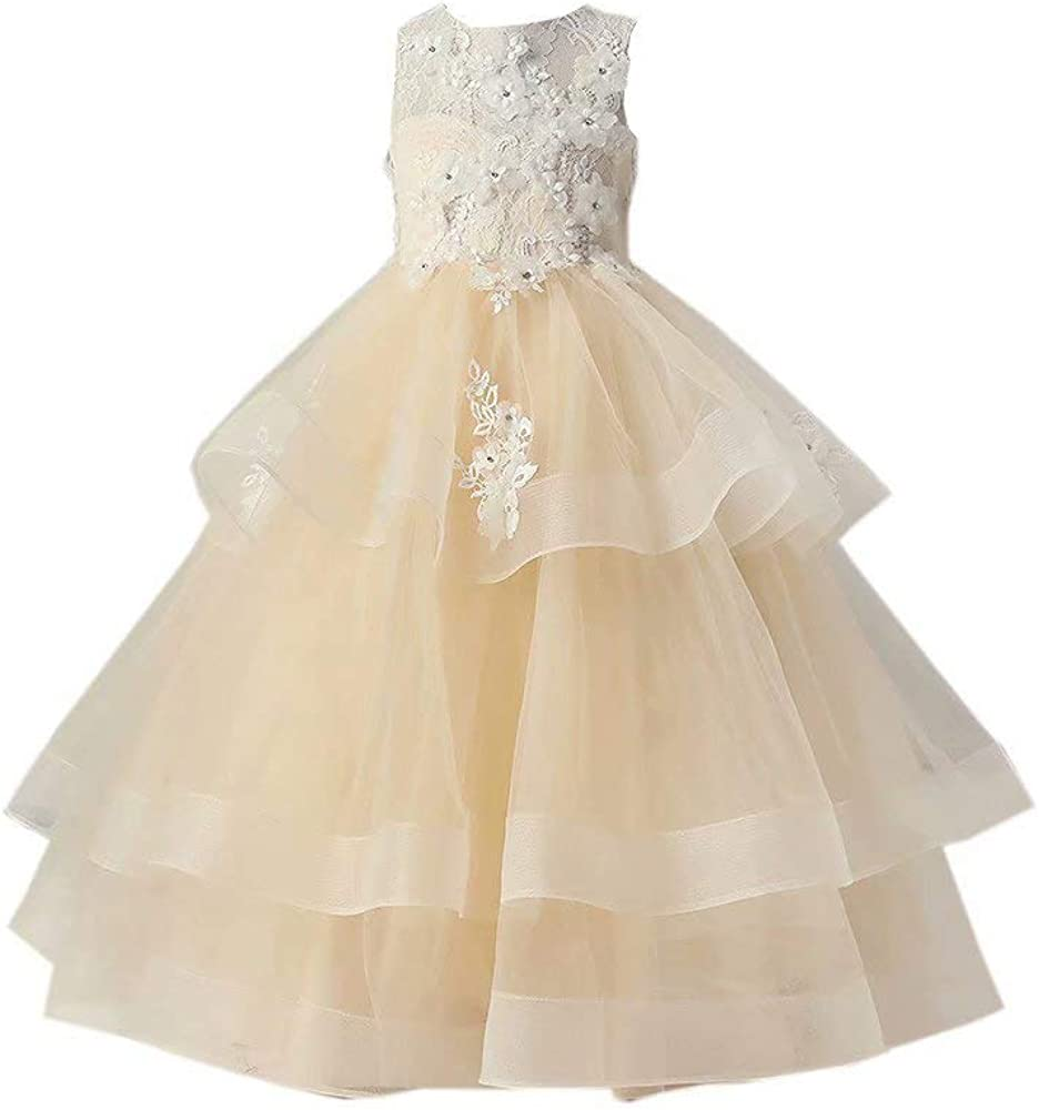 Jewel Lace Flower Girls Dress for Wedding 3D Floral Flowers Girls Pageant Prom Dresses for Kids 2021 Long