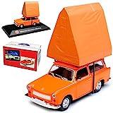 Atlas Trabant 601 Universal Kombi Orange mit Dachzelt 1964-1990 DDR 1/43 Modell Auto mit individiuellem Wunschkennzeichen