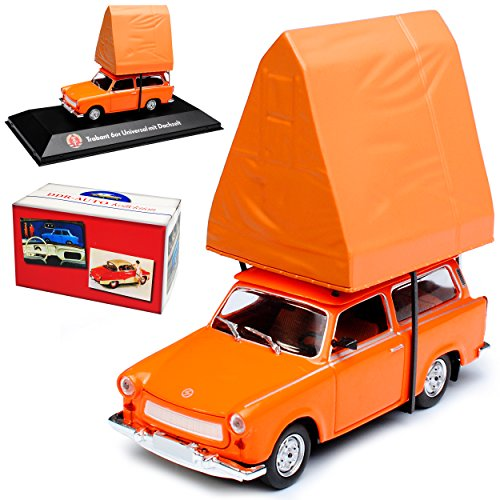 Atlas Trabant 601 Universal Kombi Orange mit Dachzelt 1964-1990 DDR 1/43 Modell Auto