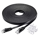 Cat 6 Ethernet Cable 100 ft High Speed, Black Flat Internet Network Cable with Rj45 Connectors, Faster Than Cat5e Cat5