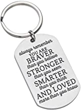 Inspirational Keychain Gift for Women Men Teen Girls Boys Friends -Always Remember You are Braver Than You Believe Stronger Than-Birthday, Keychain Birthday Gifts for Men Teens Mothers Day Graduation