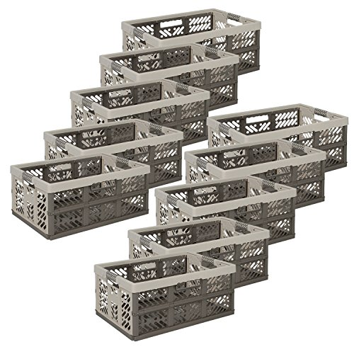 keeeper 10 x Profi-Klappbox Ben, 45 Liter, PP, Creme/Taupe