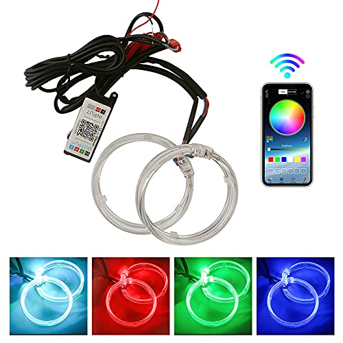 YongMing LED Demon Eyes Halo Rings APP Bluetooth Wireless Kit Suitable for Car Motorcycle Headlights 80mm 3.0 inch Projector Lens Retrofit Angel Eye Ultra Bright RGB Muli-Color 1Set