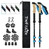 TheFitLife Carbon Fiber Trekking Poles – Collapsible and Telescopic Walking Sticks with Natural Cork Handle...