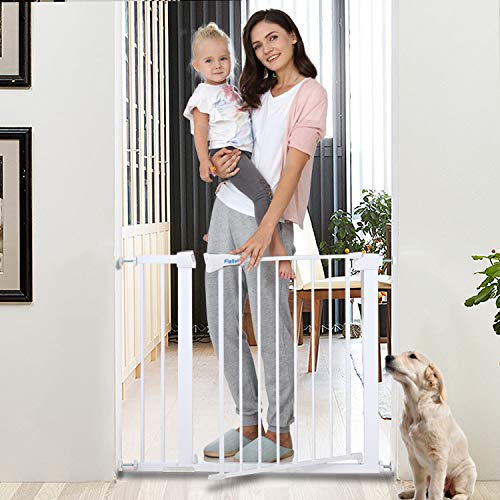 Safety Baby Gate,29.5-40.5 inch Auto Close Features,Luxury Extra Tall&Wide Child Gate, Heavy-Duty gate, Easy Walk-Thru pet Gate for The House, Stairs, Doorways & Hallways. (Applicable 29.5''-40.5'')