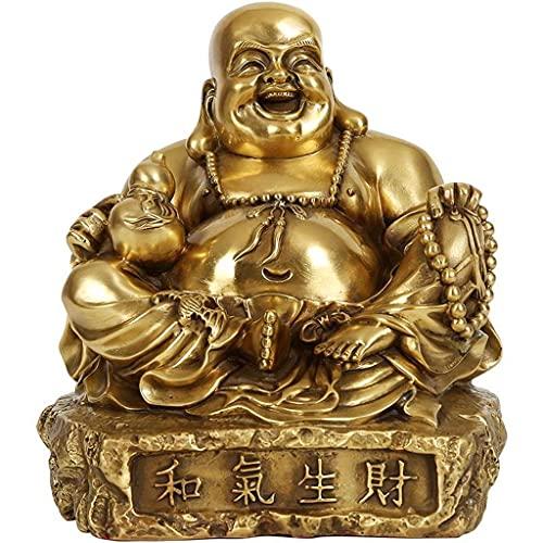 JANEFLY Zen Buddha Staty Skulptur Dekoration, Kinesisk feng shui staty skulptur Feng Shui Dekoration Buddha Koppar Big-Bellied Maitreya Buddha Ornamenter Buddha Hem Hantverk Geomancy Present Stat