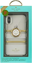 Kate Spade iPhone X Gift Set White Charlotte Stripe Ring Stand and Protective Case