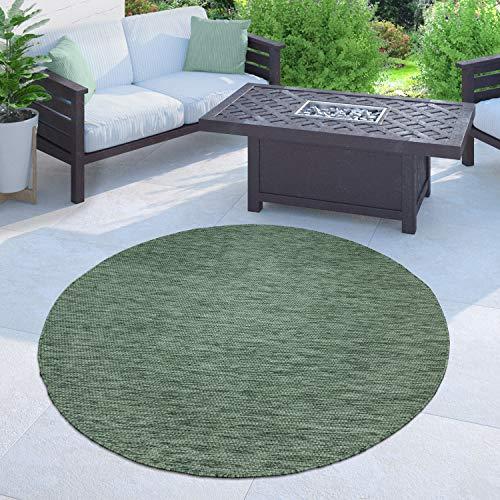 Paco Home In-& Outdoor Teppich Balkon Terrasse Küchenteppich Einfarbig Meliertes Muster, Grösse:160 cm Rund, Farbe:Grün