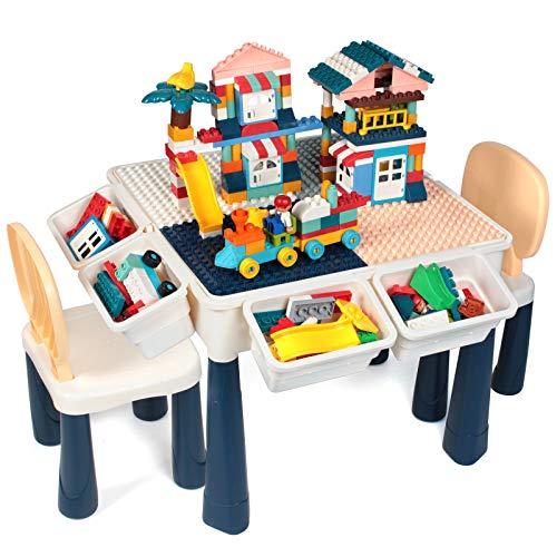 AMOSTING Mesa y Silla Infantil Plastico 7-in-1 Mesa de Juegos Infantil 158 Piezas Bloques de Construcción, Mesa de Bloques para Niños para Jugar, Comer, Aprender, Almacenar, Hacer Arena - Azul