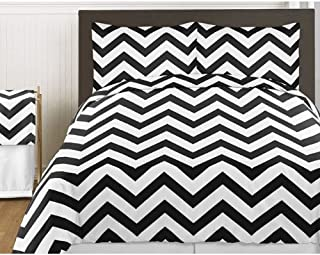 Sweet Jojo Designs 3-Piece Black and White Chevron Childrens and Teen Zig Zag Full/Queen Girl or Boy Bedding Set Collection
