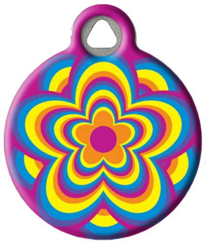 Psychedelic Flower - Custom Pet ID Tag for Cats and Dogs - Dog Tag Art - Large Size