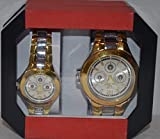 Fashionable Men's Luxury Gold Dial Stainless Steel Analog Quartz Wrist Watch Set