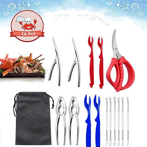 16 Pcs Seafood Tools Set and Crab & Lobster Crackers,2 Crab Crackers, 4 Lobster Shellers, 6 Crab Leg Forks,2 Shrimp Deveiner Tool,1 Seafood Scissors & Storage Bag