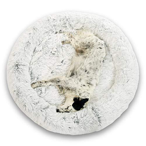 Cojín calmante para perros Gatos 95cm DODO Donut™ Cómoda cesta de felpa antiestrés redonda y suave Capullo Pequeño Mediano Grande Espuma de apoyo ortopédico 23 kg/m3 Colchón XXL fácil de lavar