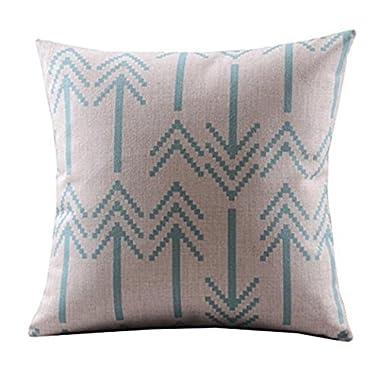 DECORLUTION Cotton Linen Decorative Throw Pillow Case Cushion Cover (Retro Blue Bold Arrows) 18 X18
