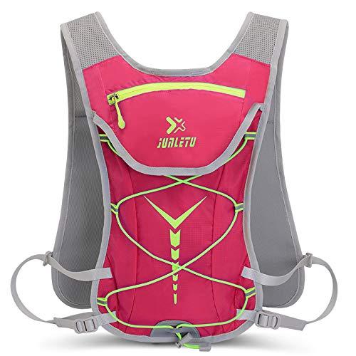 ZffXH Mochila de hidratación ligera (sin vejiga), chaleco de carreras de maratón, mochila de senderismo, ciclismo para mujeres y hombres, rosa