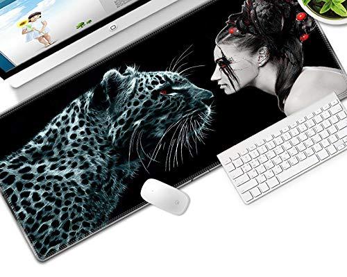HJKGSX Gaming Mauspad 800x300x3 mm Mikrofaser Verbessert Geschwindigkeit und Präzision, Schreibtischunterlage Abwischbar Anti Rutsch Matte Multifunktionales Office Mousepad - Leopard, Schönheit
