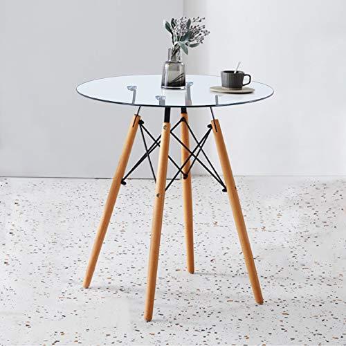 GOLDFAN Mesa de comedor redonda para 4 mesas modernas de cocina con marco de metal para hogar y oficina, diámetro 80 x 71 cm (cristal)