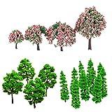 Gazechimp Set of 14pcs Modell Baum Bäume Zug Layout Garten Landschaft (10×Tannenbaum,4× Baum mit Rosa Blumen,10 Grün) -