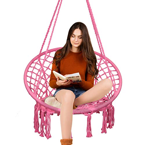 TOPWAY Hammock Chair Macrame Swing-330 Pound Capacity-Hanging Cotton Rope Chair for Indoor, Outdoor, Home, Patio, Deck, Yard, Garden, Light Red