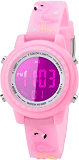 Kids Watch for Boys Girls Flamingo 3D Cute Cartoon Toddler Watch Digital Silicone Band Alarm Stopwatch Digital Child Wristwatch 50M Waterproof Pink