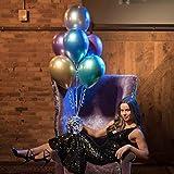 50 Stück Luftballons Metallic,Bunt Verchromte Helium Ballons 6 Metallischen Farben Metallfarbe Dekoration für Vintage Jugendweihe Junge Geburtstag JGA Party Deko (Gold Silber Blau Grün Rosa Lila) - 9